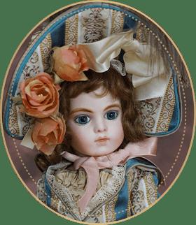 ブリュー・ジュンBJ06アートギャラリーライフが管理しているビスクドールのうち、切れ長の意志の強そうな瞳と気難しい表情をした美しいブリュー・ジュンをご紹介いたします。